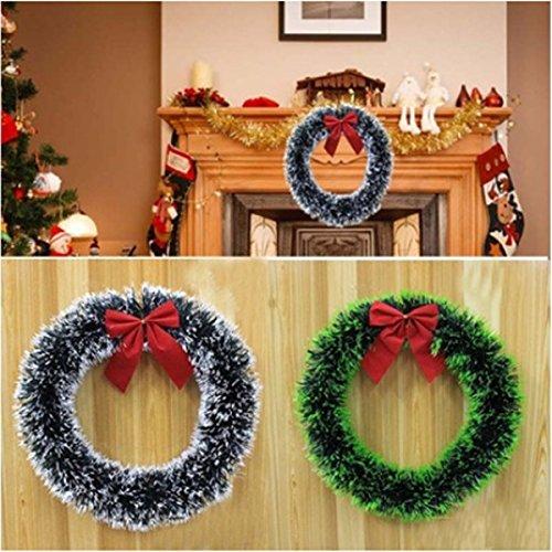 OULII 2pcs corone e ghirlanda Natale ghirlanda Natale Bowknot verde Robbia Corona Hotel Store finestra Layout decorazione pendenti (orlo bianco + verde tesa)