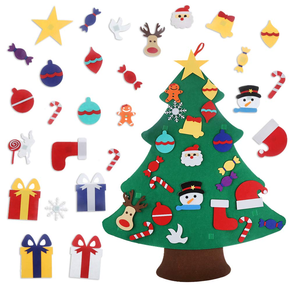 CCINEE Felt Christmas Tree,3.2 FT DIY Christmas Tree with 32PC Detachable Ornaments Wall Decor for Toddlers Kids Xmas Gifts Home Door Decoration