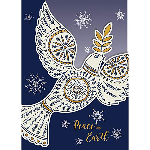Paper Magic Group White Dove 'Peace on Earth' Merry Christmas Cards, Set of 16, 5