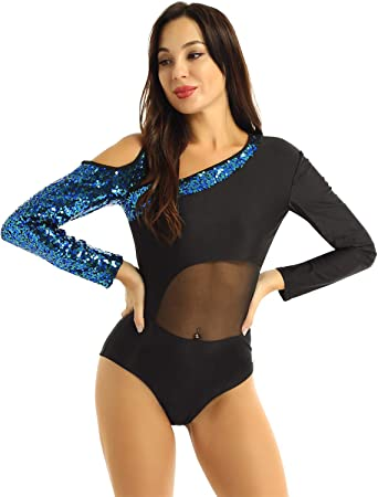 Womens Mesh 3//4 Sleeve Stretch Camisole Gymnastics Ballet Dance Leotard Bodysuit
