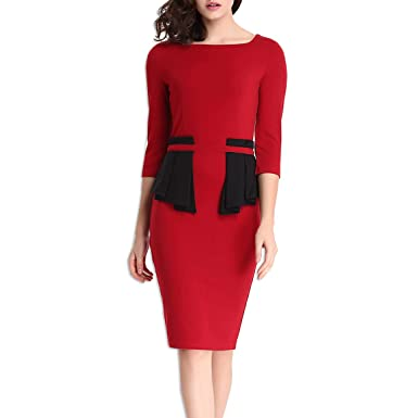 KAXIDY Ladies Bodycon Prom Dress Pencil Dress Casual Party Office Business Wear Prom Red Dresses (