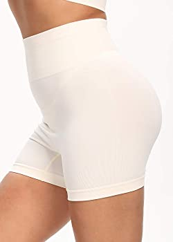 Amazon Com Workout Biker Shorts Sets Sexy Two Piece Outfits For Women Seamless High Waist Yoga Shorts Leggings And Sports Bra Set For Athletic Beign S Clothing