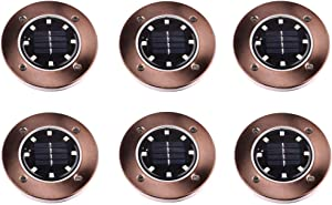 JKLcom Solar Ground Lights 8 LED Disk Light Solar Powered Outdoor in-Ground Lights for Garden Driveways Lawn Yard Driveway Walkway Pool Patio Deck Pathway,6 Pack,White,Copper/Bronze Finish