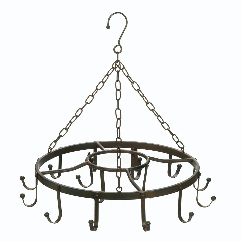 Hanging Pot Rack Ceiling, Cast Iron Pot Rack Black, Overhead Circular Pot Holder