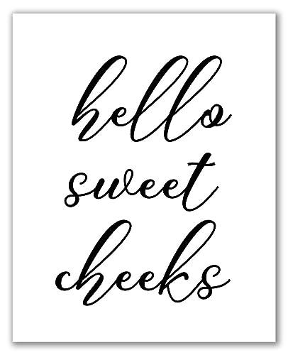 Hello Sweet Cheeks 8 X 10 Unframed Funny Print Toilet Art Bathroom Decor Toilet Art Printable Wall Art Minimalist Poster Home Decor Cute