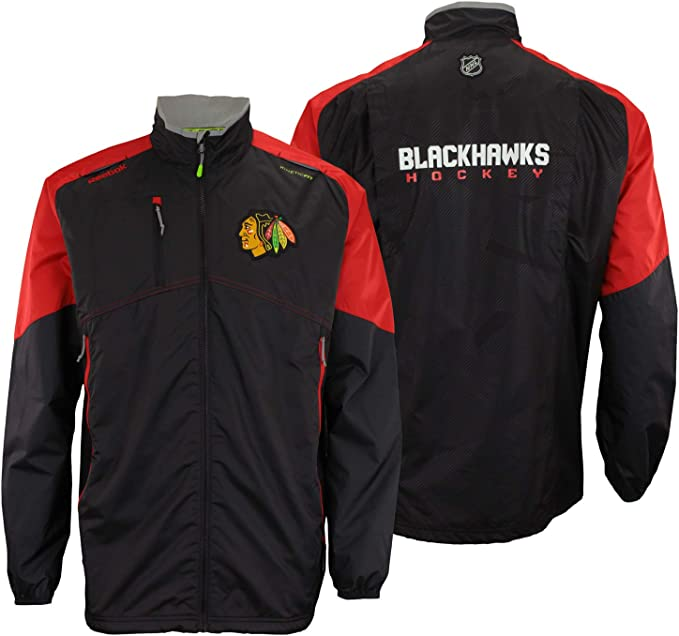 Reebok Chicago Blackhawks NHL Mens Center Ice Kinetic Fit Full Zip Jacket, Black