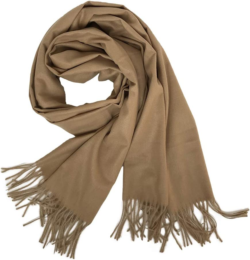 Women Pashmina Blanket Cashmere Feel Scarf Shawl Winter Large Wraps Warm Stole with Fringes Navy blue