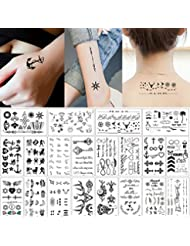20 Sheets Fake Black Tiny Temporary Tattoo Body Sticker Hand Neck Wrist Art Fashion