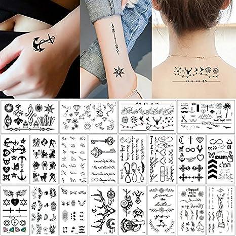 20 hojas de pequeños tatuaje temporales negros, adhesivos para el cuerpo, manos, cuello o muñeca.: Amazon.es: Belleza