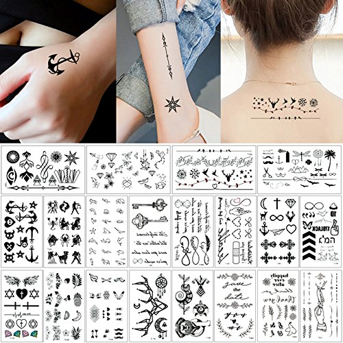 20 Sheets Fake Black Tiny Temporary Tattoro Body Sticke Hand Neck Wrist Art Fashion