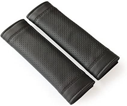 Encell Gray Fabric Car Seat Belt Strap Cover Shoulder Pad
