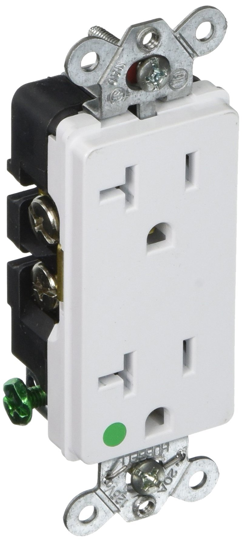 Hubbell HBL2182WA Decorator-Style Hospital Grade Receptacle, 20 amp, 125V, 5-20R, White