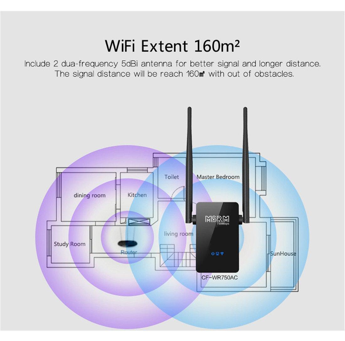 MSRM US750 750Mbps Long WiFi Range Extender 360 Degree Full Coverage High Power Dual Band Range Extender (Black) by MSRMUS (Image #4)