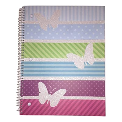 Carolina Pad Studio C The All a Flutter Collection Wide Ruled Spiral Notebook (White Glitter Butterflies, 70 Sheets, 140 Pages): Toys & Games