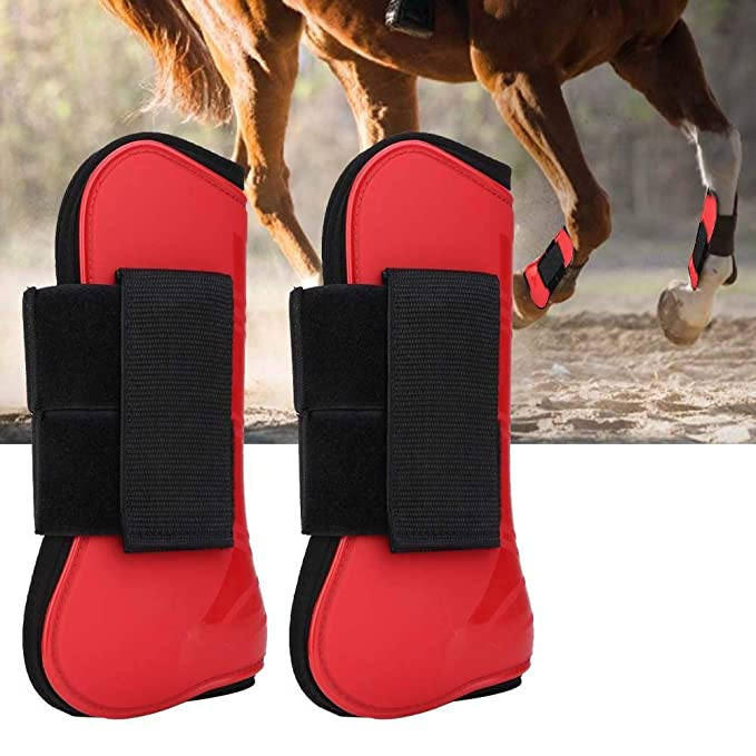 1 Pair PU Secure Leg Protection Horse Tendon Boots Breathable Wrap PU shell and