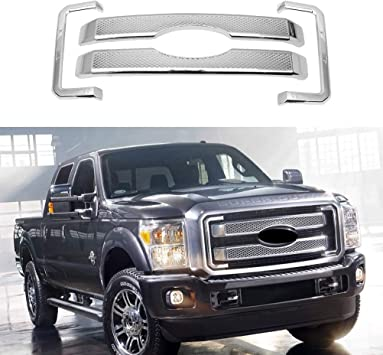 8pcs ABS Chrome Front Bumper Hood Grille Cover NINTE Grill Covers for Ford F-250 F-350 F-450 Super Duty