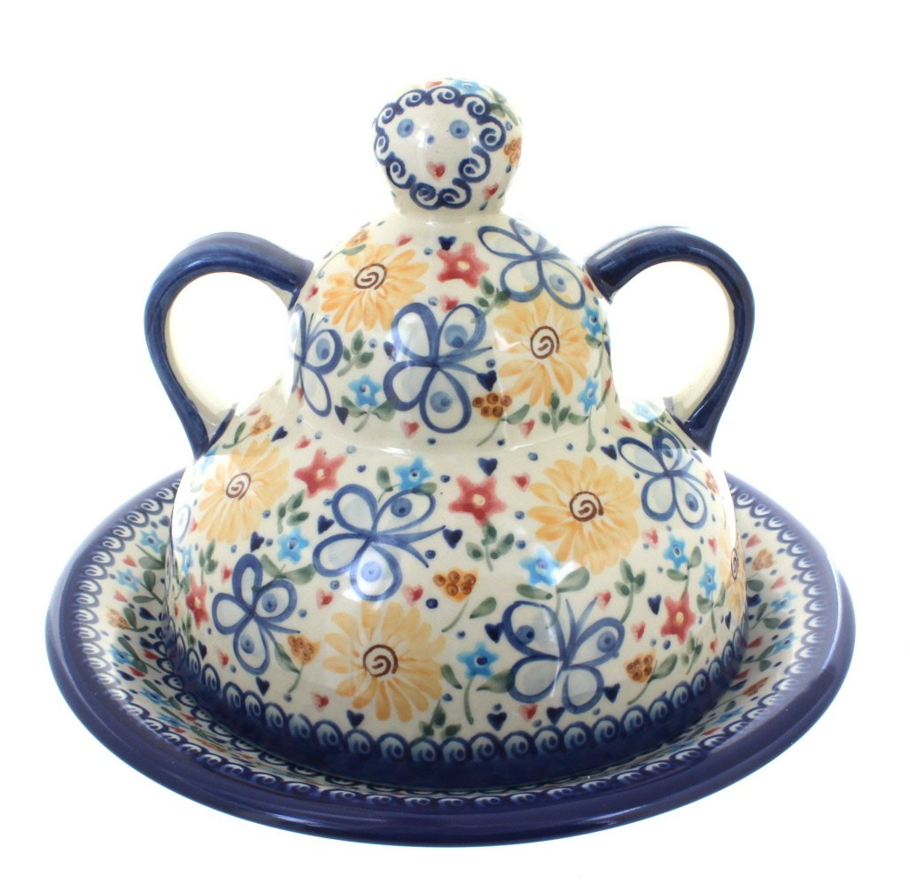 Polish Pottery Butterfly Cheese Lady