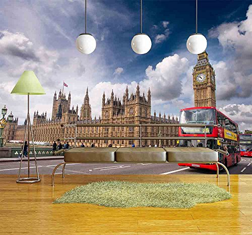 wall26 - London. Classic Red Double Decker Buses on Westminster Bridge. - Removable Wall Mural | Self-adhesive Large Wallpaper - 66x96 inches (Double Decker Bridge)