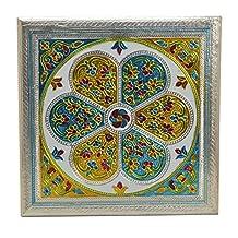 Meenakari Puja Bajot/ Table/ Chowki (Hindu Pooja, Indian Religious Chaurang) - Svadhishthana Design, 15 L X 15 W X 5 H (Medium)