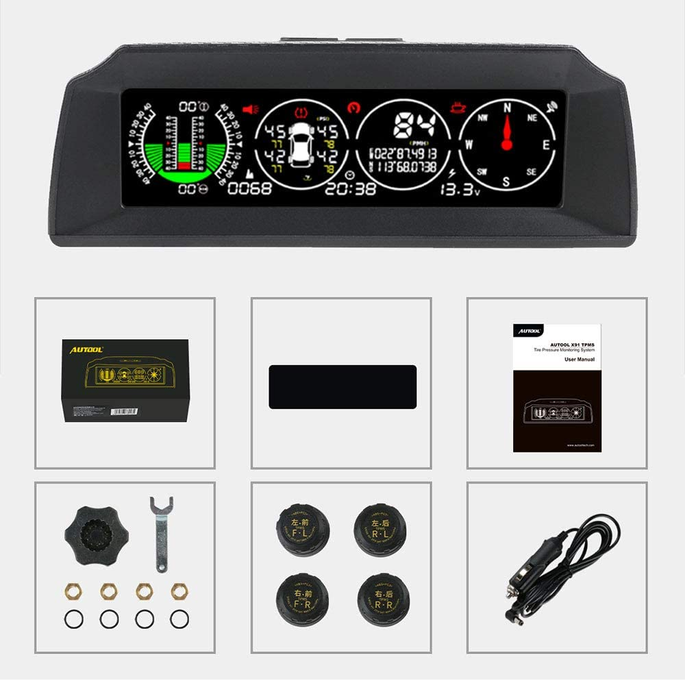 AUTOOL X91 Car Hud 3 en 1 TPMS, GPS Smart Car Head Up Display, Medidor de pendiente de ángulo de automóvil para vehículos diésel y gasolina de 12 V