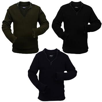 Fijo Night, Juego de 3 Hombre Jersey Ejército Trabajo de diseño acrílico Jersey Largo armp ullover Señor Sudadera Marina/Ejército Verde/Negro, ...