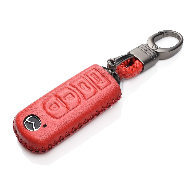 CX-5 CX-7 Atenza Axela 4 Buttons, Brown Vitodeco Genuine Leather Smart Key Fob Case Cover Protector for Mazda 3 CX-9 6 MX-5 Miata