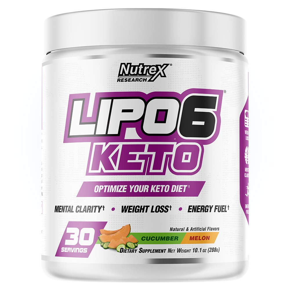 Nutrex Research Lipo-6 Keto | Keto Diet Support | Mental Clarity, Weight Loss, Energy Fuel, BHB Salts | 30 Servings (Cucumber Melon) by Nutrex Research