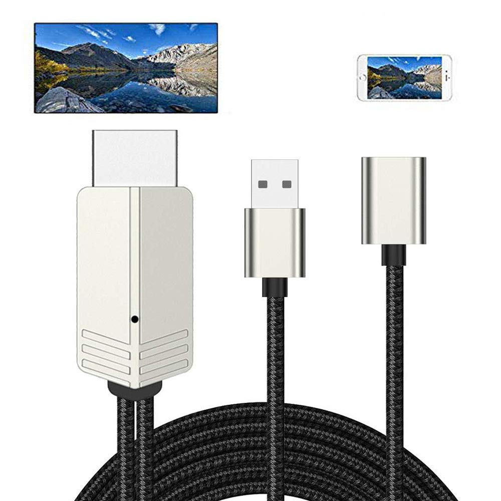HDMI Adapter Cable for iPad iPhone 12 11 Xs X Samsung Galaxy S10 Note 8 Plus LG Moto Cell Phone Tablet MacBook OTG USB Android Device MHL Cord Converter Mirroring HD Video to HDTV Monitor Projector TV