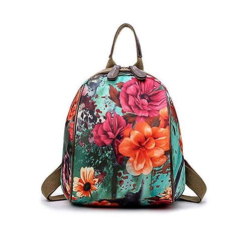 VHVCX Moda Floral School Girls Bolsas Mujeres Mochila Pequeñas Flores Verdes La Mujer Mochilas Mochilas Mujer Famosa Marca Mamá Mochila, Verde: Amazon.es: ...