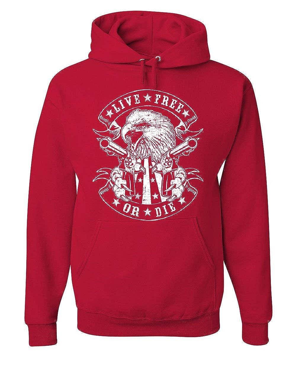Live Free Die Hoodie Eagle Biker 2nd Amendment American Flag Sweatshirt