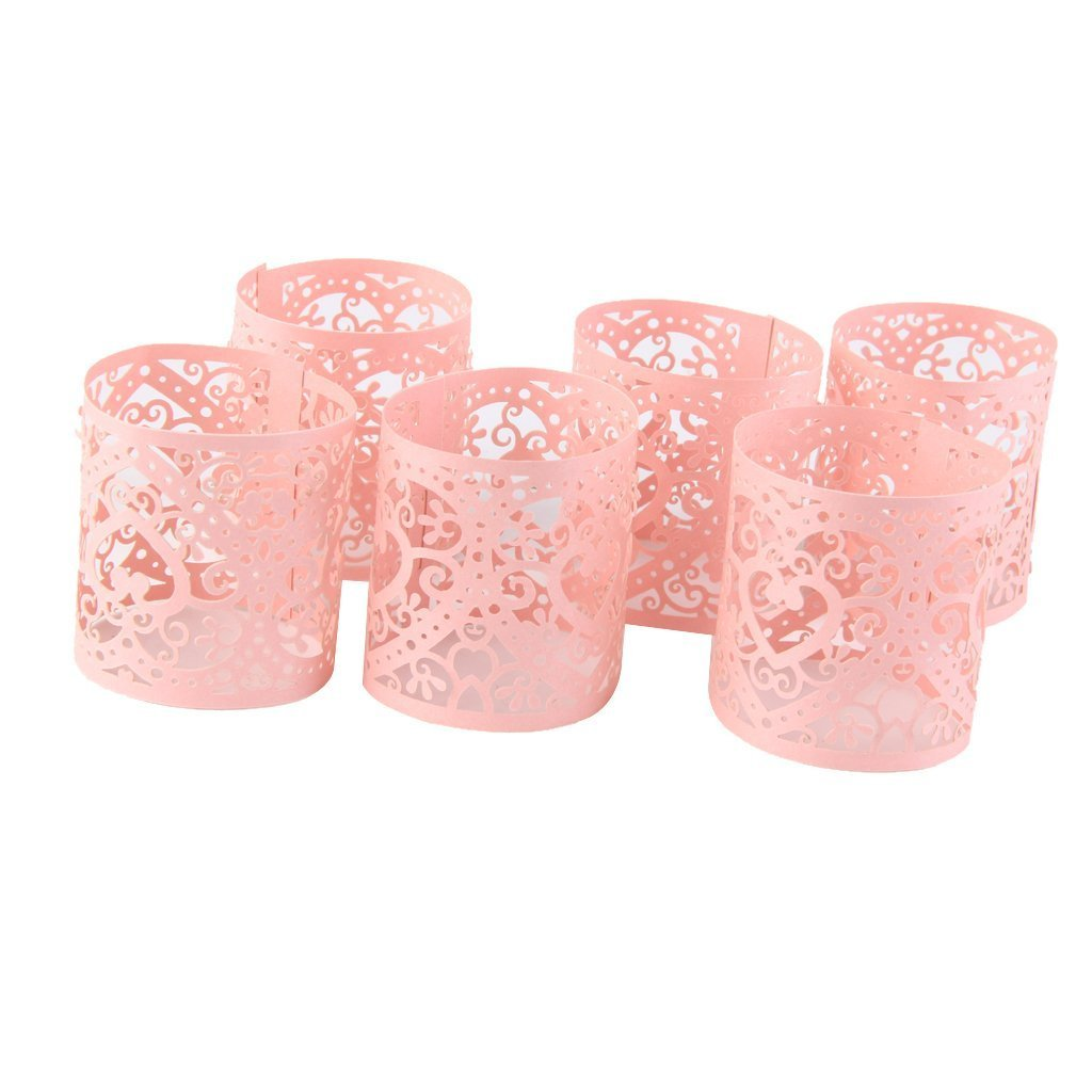 Hosaire 6 Pcs Decorative Laser Cut Cupcake Liners Wraps for Weddings, Birthdays, Christmas, Lace Cupcake Wrappers,for LED Battery Tealight Candles Pink