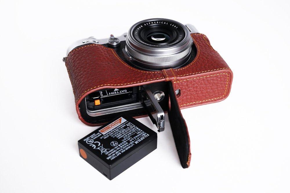 Handgemachte Echte Reale Lederne Halbe Kamera Kasten Beutel Abdeckung Für Fujifilm X100f Braune Unterseite Öffnungs Version