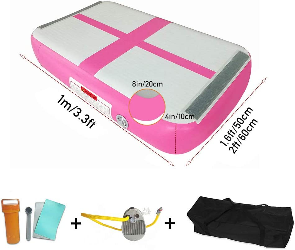 Color//Size Optional,L=100cm W=50//60cm T=10//20cm Clubs,Yoga School,Dance EJIA Inflatable Air Track Gymnastics Tumbling AirBox Mat with Bravo Foot Pump//Tokyo Championship//for Home Cheerleading