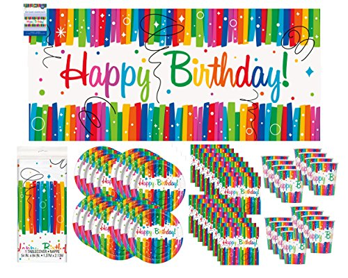 Rainbow Ribbon Birthday Party Supply Pack Bundle Serves 16 with Giant Banner -