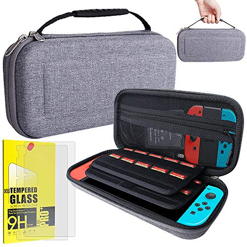 Nintendo Switch Carrying Case with 2 Pack Tempered Glass Screen Protector, Switch Hard Cover Protective Travel Case Storage EVA Hardshell for Nintendo Switch Console & Accessories