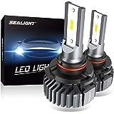 SEALIGHT 9005 HB3 LED Headlight Bulbs, Fanless 6000K White, Easy Installation, High Beam 9145/H10 Fog Lights, Halogen Replace