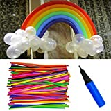colored shapes - Etmact 100pcs 260Q Rainbow Colored Vibrant Latex Balloons with Balloon Pump, Thickening Latex Twisting Modeling Strip Shape Balloon Magic Balloon Animals for Wedding, Birthday Party Decor, Children Ki
