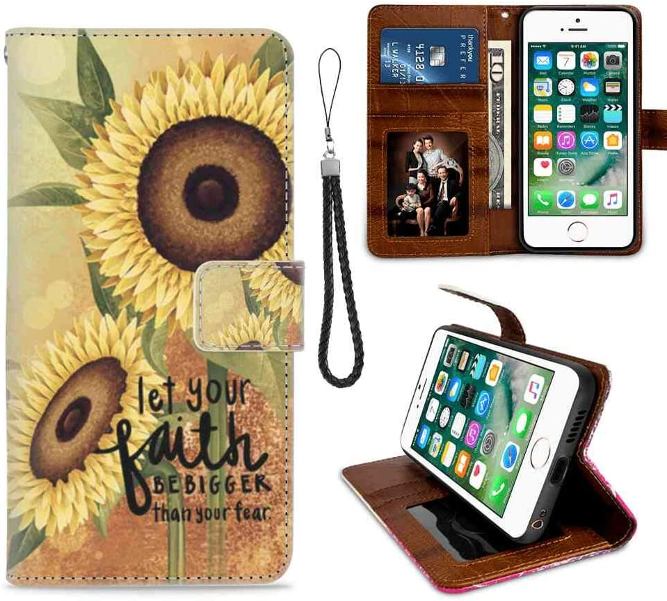 Sunflower Bible Verse Wallet Case for iPhone 7 Plus iPhone 8 Plus (5.5in) for Girl