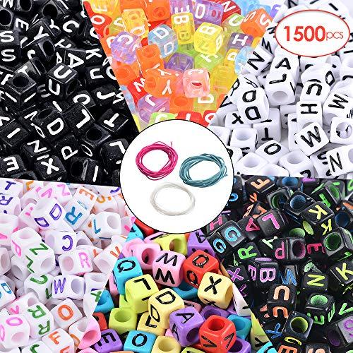 Souarts 1500pcs Letter-Beads Acrylic Letter Beads Letter Beads for Bracelets 6x6mm Letter Beads Acrylic Plastic Cube Shape Loose Beads]()