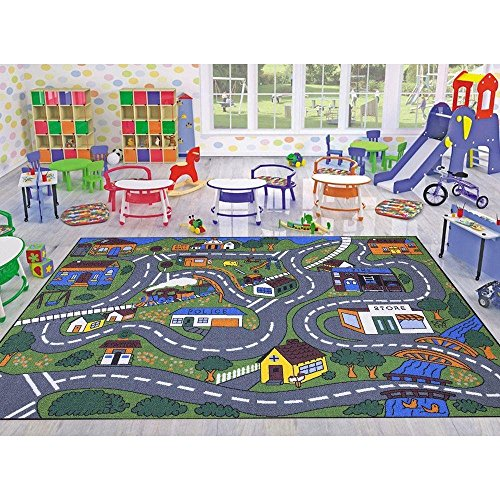 Giant Road Rug (Ottomanson Jenny Collection Grey Base with Multi Colors Kids Children's Educational Road Traffic System Design(Non-Slip) Area Rug, 3'3