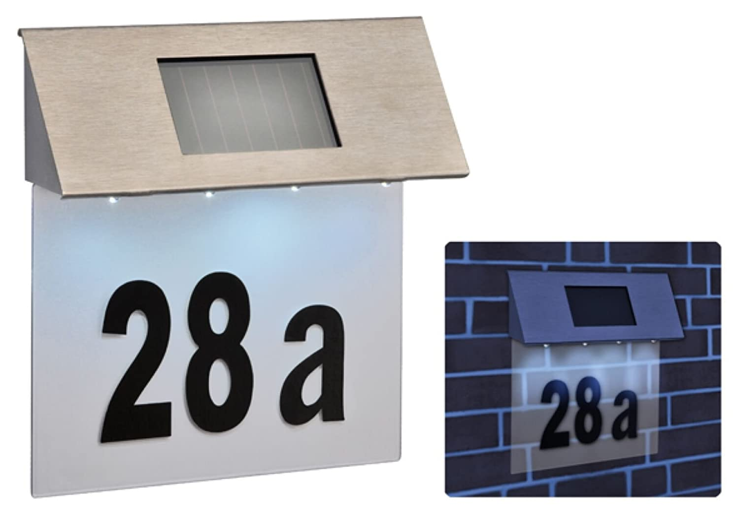 Solar powered led house number modern outdoor wall plaque light amazon co uk kitchen home