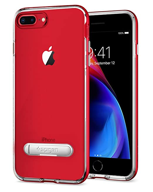 low priced 40cdb 3f396 iPhone 7 Plus Case, Spigen [Crystal Hybrid] iPhone 8 Plus Case with  Water-Mark Free TPU and Magnetic Metal Kickstand for iPhone 7 Plus - Dante  Red