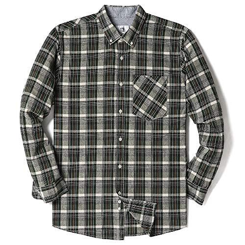 Mens Long Sleeve Plaid Checked Button Down Cotton Casual Shirts Green Plaid (Green Plaid Long Sleeve Shirt)