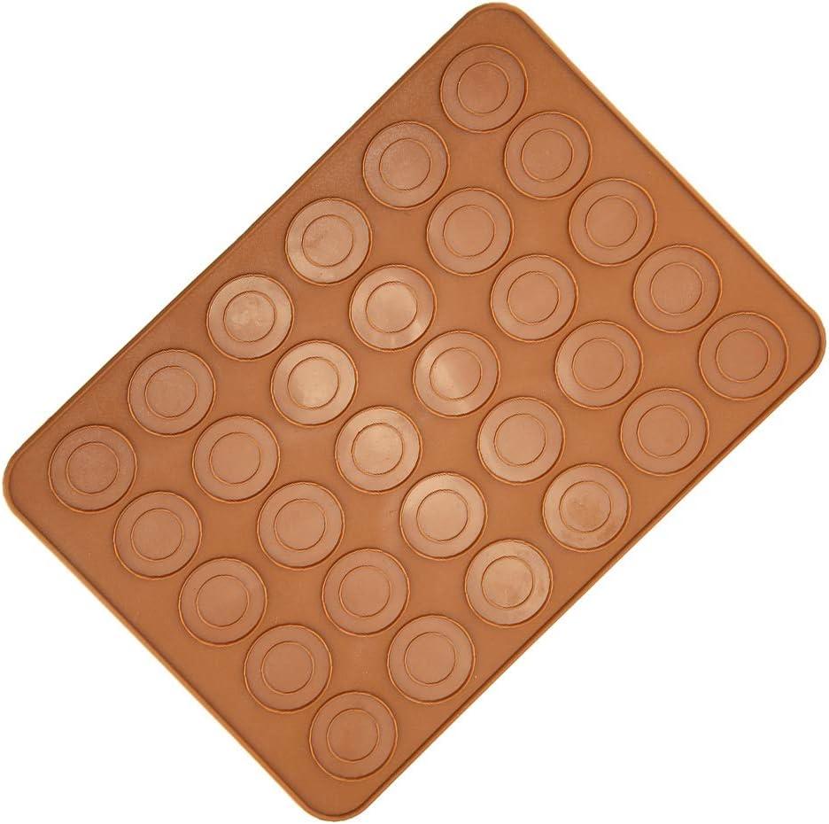 Rockyin 1pc 30 trous de forme ronde Macarons Mat silicone Macaron feuille Pad p/âtisserie G/âteau de cuisson /à outils