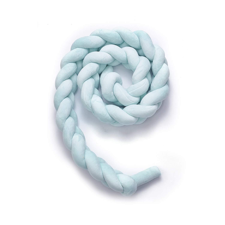 Fashion/·LIFE Tour de Lit B/éb/é Serpent Coussin Berceau Pare-chocs Tress/é B/éb/é lit Bumper Pare-chocs Velours Pour les Nouveau-n/és,1.5M Rose