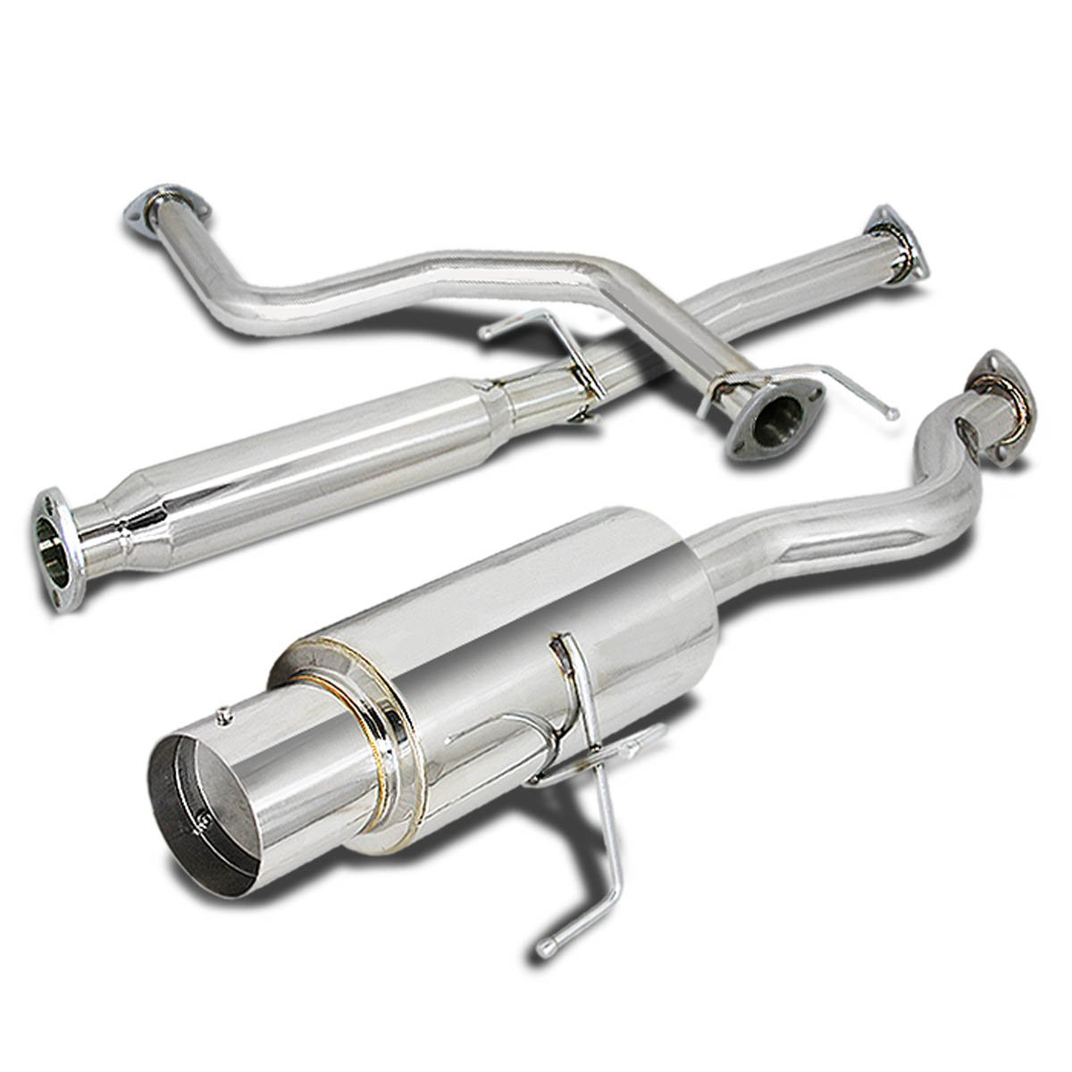 Stainless Steel 4.5 Muffler Tip Exhaust Catback+Header Manifold+Pipe for Honda Civic 96-00 Hatchback