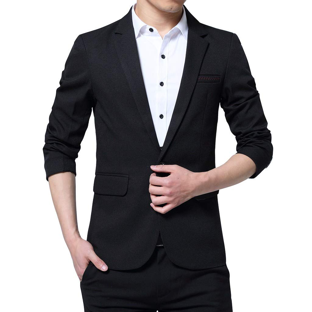 Men's Suit Blazer, NDGDA Male Fashion 2019 New Style One Button Slim Suit for Self-Cultivation Coat Business Wedding Party Outwear by NDGDA 🔰 Men's Jacket & Coat
