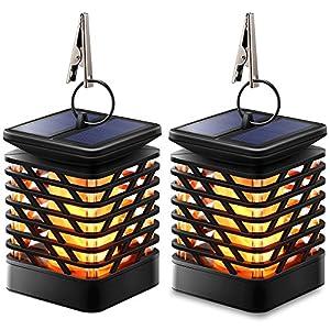 TomCare Solar Lights Solar Lanterns Dancing Flame Outdoor Hanging Lanterns Lights Decoration Lighting Solar Powered Waterproof Umbrella Lanterns Night Light Auto Sensor for Garden Patio Yard (2)