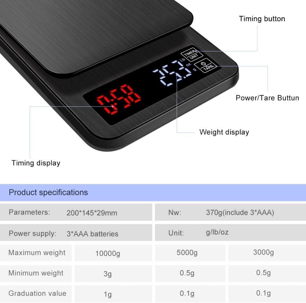 10 Kg / 5 Kg / 3 Kg, Bilancia Da Cucina Digitale Intelligente USB, Bilancia da caffè Elettronica, Bilancia Da Cucina Con Conto Alla Rovescia (10kg/1g) 3kg/0.1g