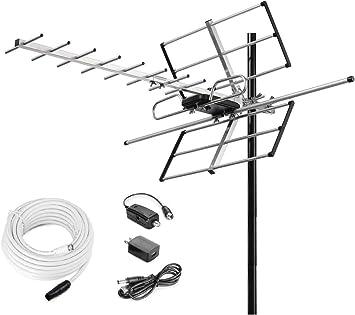 1Byone Digital Amplified Outdoor Full HDTV Antenna 200Miles Range VHF UHF Signal